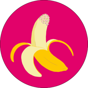 Illustration of a yellow banana with pink and purple hundreds & thousand toppings. Brigt pink circle background. The image is suggestive of a penis.