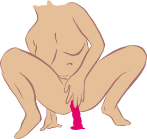 Position for masturbating. White female body squatting over a pink dildo.