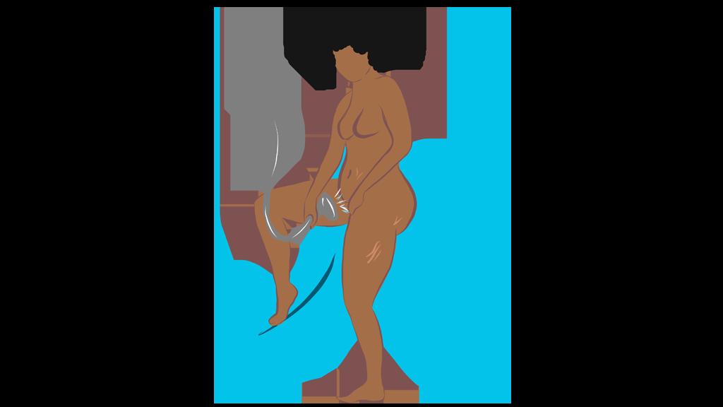 Masturbation Position WoC in shower on blue background