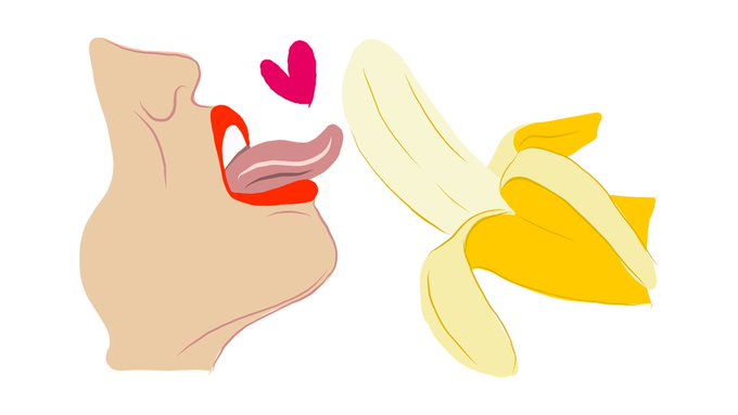 Lips and tongue licking banana
