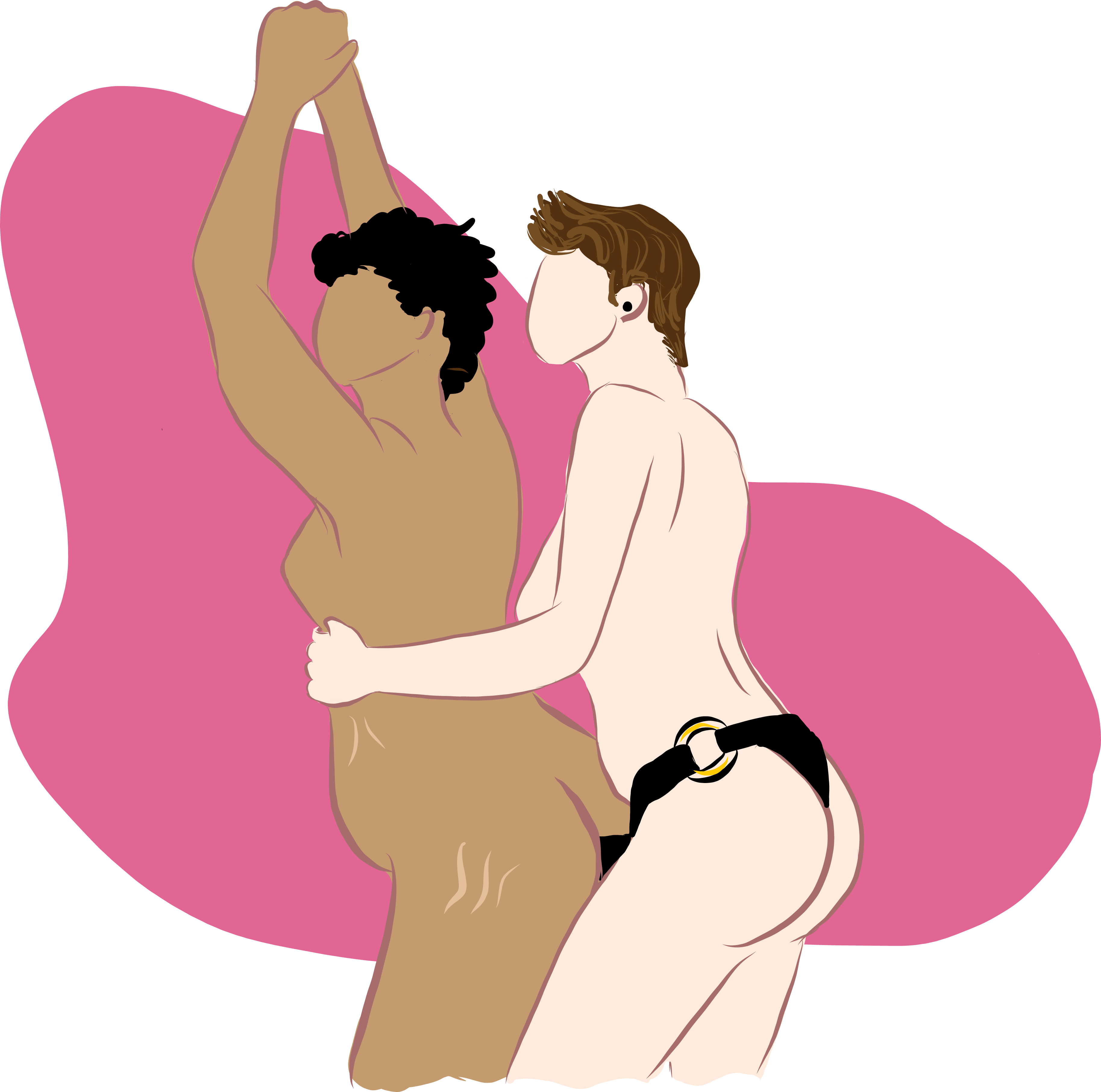 pink background. a white-skinned woman is wearing a black strap-on and is standing behind a brown-skinned wpman.